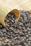 Koffieboon in mand Stock Afbeeldingen