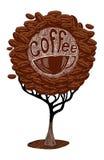Koffieboon op bruine achtergrond Stock Afbeelding