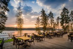 Koffiedel lake zonsondergang royalty-vrije stock fotografie