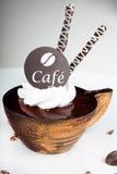 Koffiedessert met een chocolade Stock Foto's