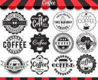 Koffieelementen, kaders, etiketten en kentekens royalty-vrije illustratie