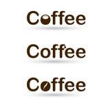 Koffieembleem met kop Stock Foto