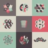 Koffieemblemen en etiketten. Reeks affiches, ontwerp  Royalty-vrije Stock Foto's