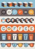 Koffieemblemen. Reeks ontwerpelementen Stock Afbeeldingen