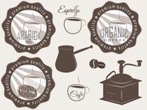 Koffieetiketten en kentekens. Stock Foto