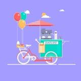 Koffiehuis op fiets Vectorillustratie op het thema van stre Royalty-vrije Stock Foto