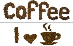 Koffieinschrijving op een witte achtergrond Royalty-vrije Stock Fotografie