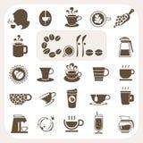 Koffieinzameling, Vector geplaatste pictogrammen Royalty-vrije Stock Afbeeldingen