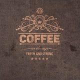in koffiekenteken, etiket Stock Fotografie