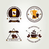 Koffiekenteken, etiket, pictogrammenu Stock Foto
