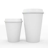 Koffiekop bij het witte 3D rndering wordt als achtergrond geïsoleerd die Royalty-vrije Stock Foto's