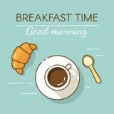 Koffiekop en croissant in overzichts vlakke stijl Concept voor ontbijtmenu, koffie, restaurant Royalty-vrije Stock Fotografie