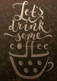 Koffiekop en kalligrafie boven het Royalty-vrije Stock Foto