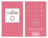Koffiekop en koffiebonen De horizontale kaart met loyaliteitsprogramma voor klanten van koffie winkelt, caffeehuizen enz. vector illustratie