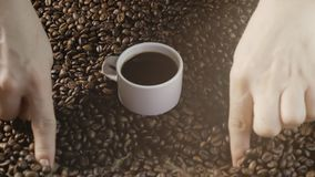 Koffiekop en koffiebonen De vrouwen` s handen trekken een hart van koffiebonen Een witte Kop van het stomen van koffie met geroos stock videobeelden