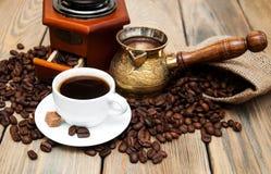 Koffiekop en metaal Turk Stock Fotografie
