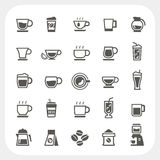 Koffiekop en van de Theekop geplaatste pictogrammen Stock Foto