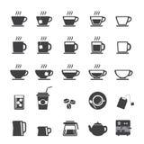 Koffiekop en van de Theekop pictogramreeks Stock Foto