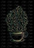 Koffiekop met abstract ornament royalty-vrije illustratie