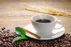 Koffiekop met bonen, pijpje kaneel en groen blad Stock Foto