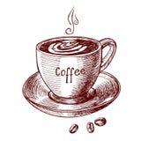Koffiekop met het van letters voorzien en koffieboon in uitstekende gravurestijl Stock Fotografie