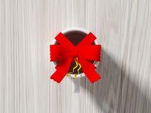 Koffiekop met kleurenlint dat wordt verpakt Stock Afbeelding