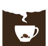 Koffiekop met pijpje kaneel op houten lijst stock illustratie