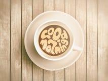 Koffiekop met tijd het van letters voorzien over goedemorgen, die op realistische houten achtergrond awaking Cappuccino van hierb royalty-vrije stock foto