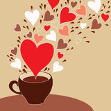 Koffiekop met vliegende harten Stock Foto's