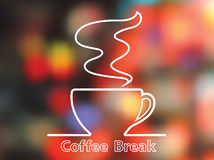 Koffiekop op kleurrijke achtergrond stock illustratie
