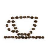 Koffiekop van koffiebonen wordt gemaakt op witte achtergrond die Royalty-vrije Stock Afbeeldingen