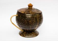 Koffiekop van kokosnoten dieshell wordt gemaakt Royalty-vrije Stock Afbeelding