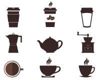 Koffiekoppen en Potten Royalty-vrije Stock Foto