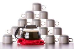 Koffiekoppen klaar voor nieuwe vulling Royalty-vrije Stock Foto's