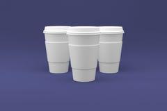 Koffiekoppen Klaar voor Uw Embleem Stock Afbeelding