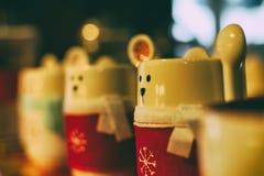 Koffiekoppen in koffie Royalty-vrije Stock Afbeelding