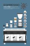 Koffiemachine - toebehorenpictogrammen royalty-vrije illustratie