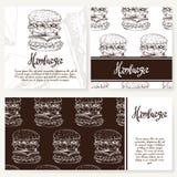 Koffiemenu met hand getrokken ontwerp Het menumalplaatje van het snel voedselrestaurant Reeks kaarten voor collectieve identiteit Stock Fotografie