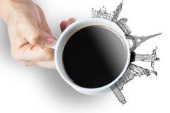 Koffieminnaar van rondom de wereld met oriëntatiepunt wereldwijd Stock Foto