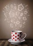 Koffiemok met hand getrokken keukentoebehoren Stock Foto