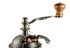 Koffiemolen, close-up, geïsoleerde bovenkant, Royalty-vrije Stock Foto