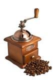 Koffiemolen met bonen royalty-vrije stock afbeeldingen