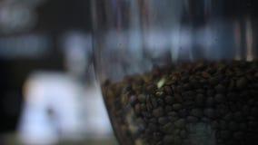Koffiemolen met het dalende schot van koffiebonen stock video