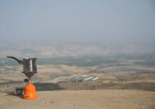 Koffiepauze boven de vallei van Jordanië Stock Afbeelding