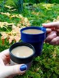 Koffiepauze in het bos royalty-vrije stock afbeelding