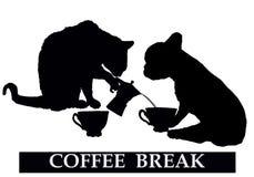 Koffiepauze met kat en hond stock illustratie