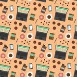 Koffiepauze naadloos patroon Stock Afbeeldingen