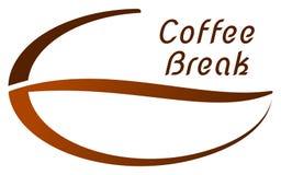 Koffiepauze op een koffieboon - embleem stock illustratie