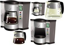 Koffiepercolator en potten Royalty-vrije Stock Afbeeldingen