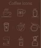 Koffiepictogram met lijnstijl die wordt geplaatst royalty-vrije illustratie